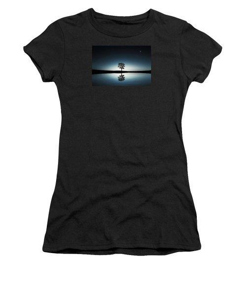 Tree Near Lake At Night Women's T-Shirt (Junior Cut) by Bess Hamiti