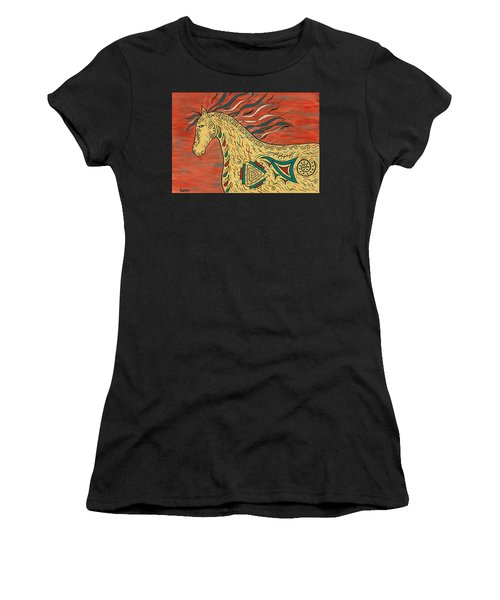 Women's T-Shirt (Junior Cut) featuring the painting Tribal Spirit Horse by Susie WEBER