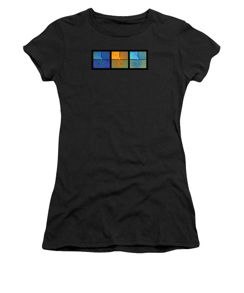 Triptych Blue Orange Cyan - Colorful Rust Women's T-Shirt (Junior Cut) by Menega Sabidussi