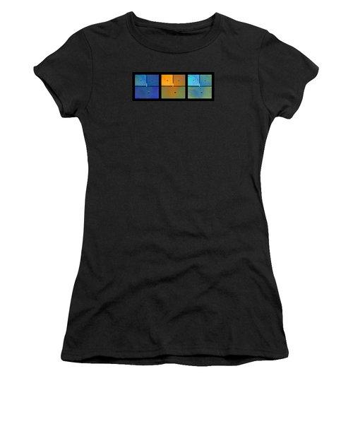 Triptych Blue Orange Cyan - Colorful Rust Women's T-Shirt (Athletic Fit)