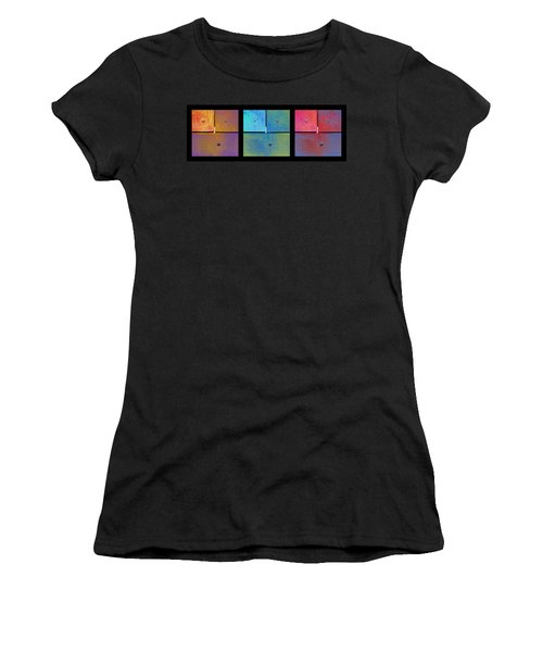 Triptych Gold Cyan Magenta - Colorful Rust Women's T-Shirt (Junior Cut) by Menega Sabidussi