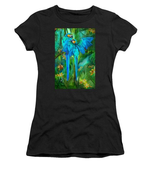 Women's T-Shirt featuring the mixed media Tropic Spirits - Gold And Blue Macaws by Carol Cavalaris