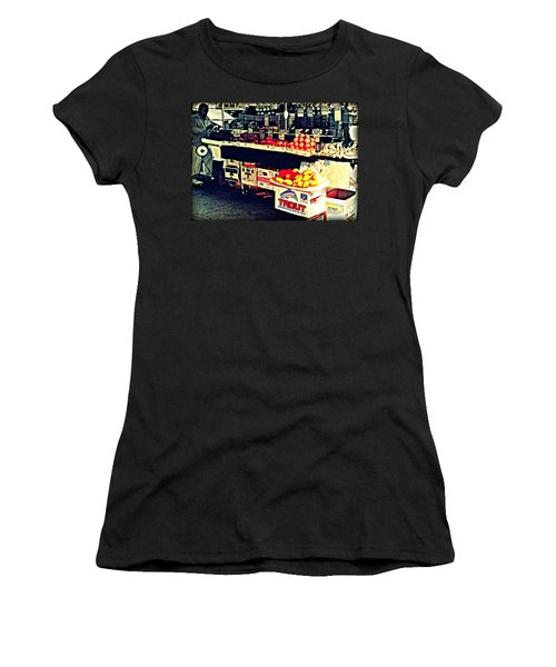 Women's T-Shirt (Junior Cut) featuring the photograph Vintage Outdoor Fruit And Vegetable Stand - Markets Of New York City by Miriam Danar