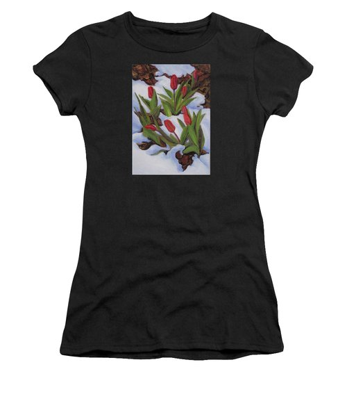 Tulips In Snow Women's T-Shirt (Athletic Fit)