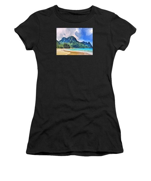 Tunnels Beach Kauai Women's T-Shirt (Athletic Fit)