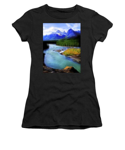 Women's T-Shirt (Junior Cut) featuring the digital art Turquoise Light 1 by William Horden