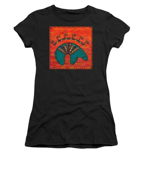 Women's T-Shirt (Junior Cut) featuring the painting Turquoise Oso Bear Fetish by Susie WEBER