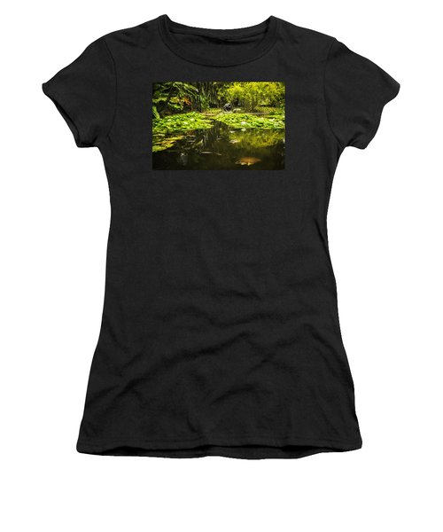 Turtle In A Lily Pond Women's T-Shirt (Junior Cut) by Belinda Greb