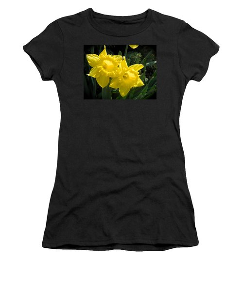 Women's T-Shirt (Junior Cut) featuring the photograph Two Daffodils by Kathy Barney