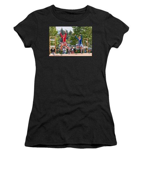 Two Girls Scottish Dancing Art Prints Women's T-Shirt (Athletic Fit)