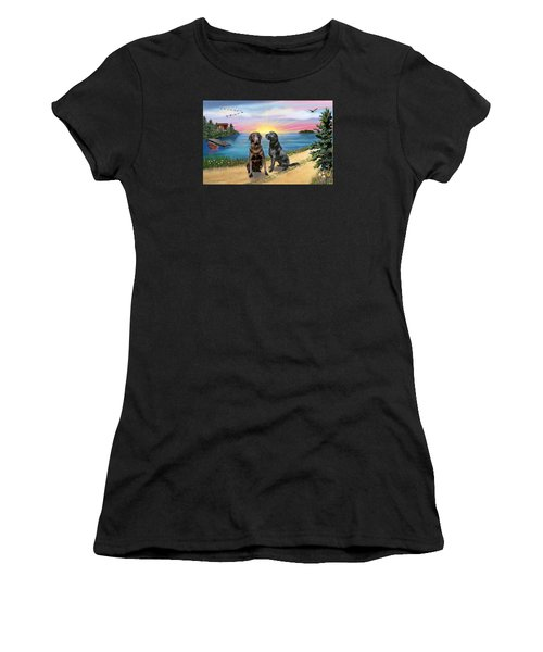 Two Labs At The Lake Women's T-Shirt