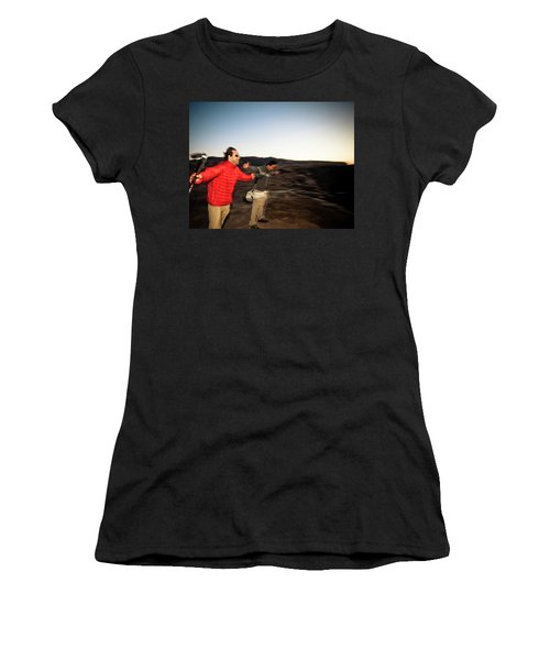 Two Men Stretch Out Their Arms And Lean Women's T-Shirt