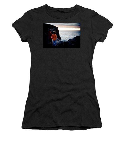 Two Men Watch The Sunset Over The Ocean Women's T-Shirt