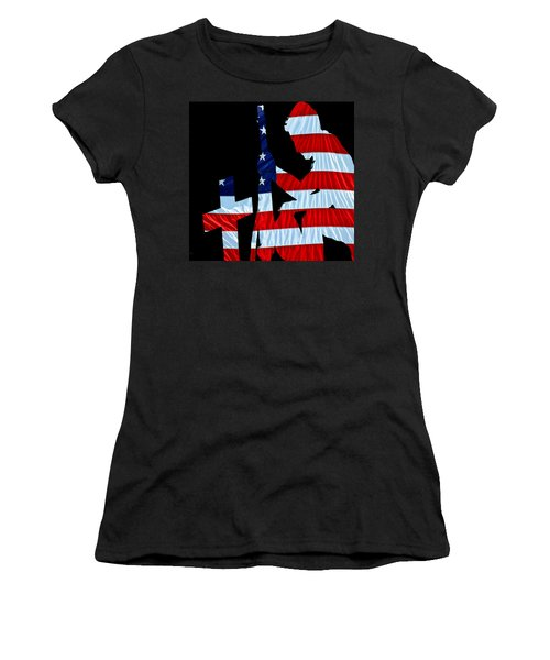 A Time To Remember United States Flag With Kneeling Soldier Silhouette Women's T-Shirt (Junior Cut) by Bob Orsillo