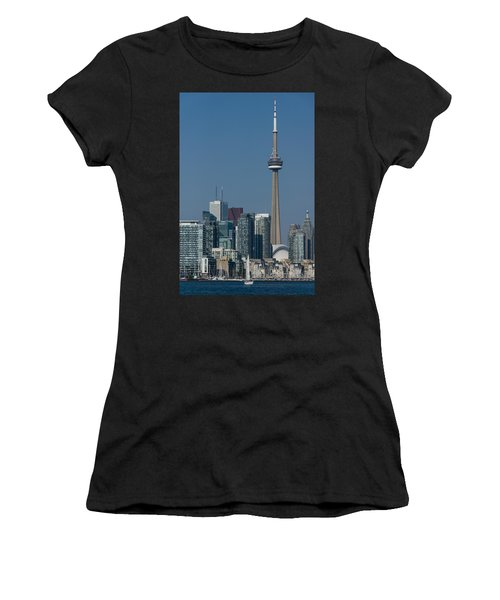 Up Close And Personal - Cn Tower Toronto Harbor And Skyline From A Boat Women's T-Shirt