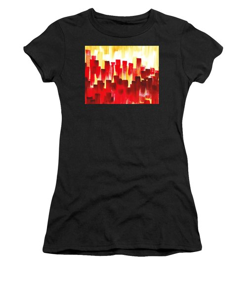 Urban Abstract Red City Lights Women's T-Shirt