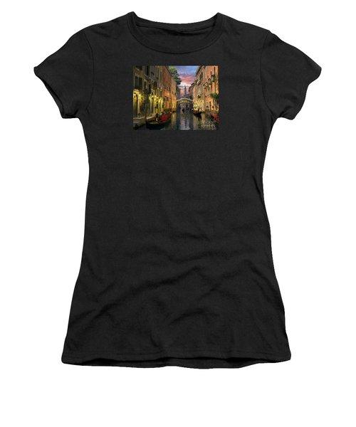 Venice At Dusk Women's T-Shirt (Junior Cut) by Dominic Davison