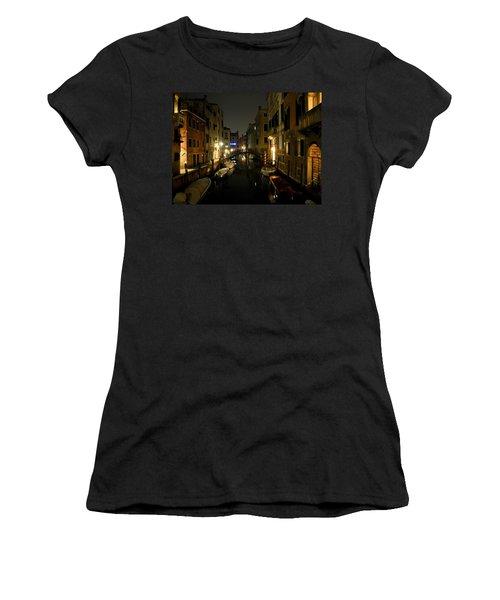 Venice At Night Women's T-Shirt (Junior Cut) by Silvia Bruno