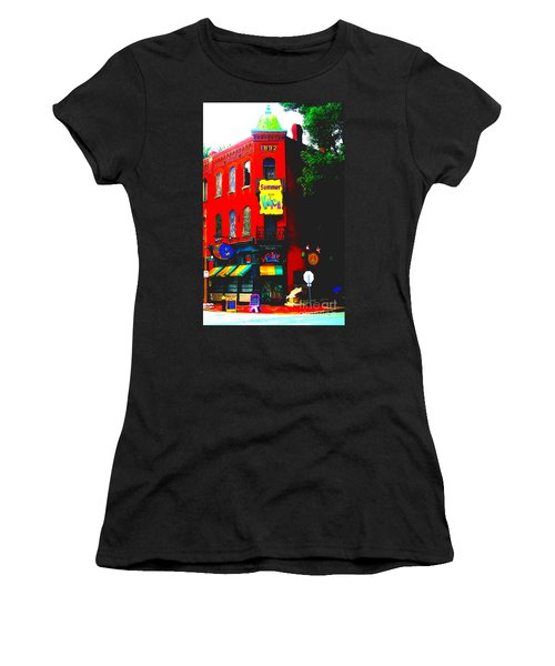 Venice Cafe' Painted And Edited Women's T-Shirt (Athletic Fit)