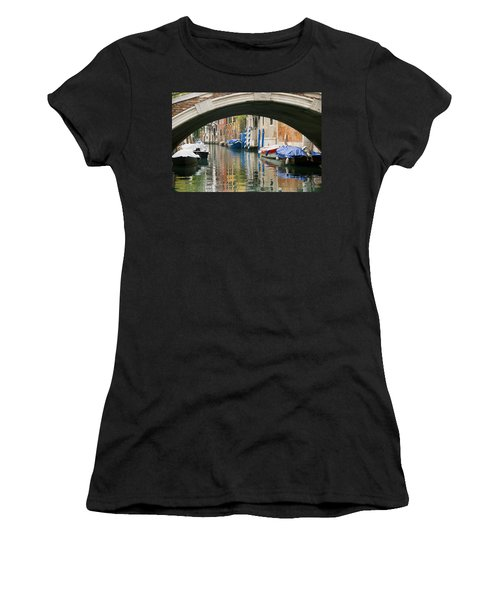Venice Canal Boat Women's T-Shirt (Junior Cut) by Silvia Bruno