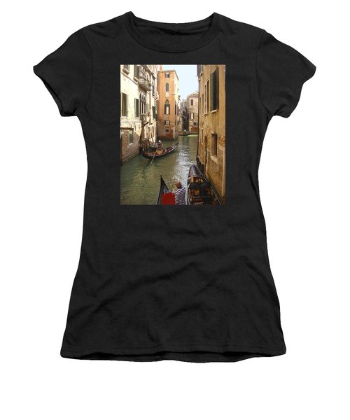 Women's T-Shirt featuring the photograph Venice Gondolas by Karen Zuk Rosenblatt