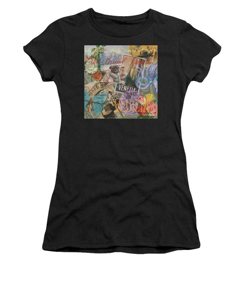 Venice Vintage Trendy Italy Travel Collage  Women's T-Shirt (Athletic Fit)