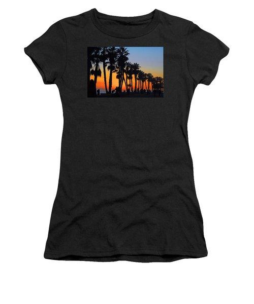 Ventura Boardwalk Silhouettes Women's T-Shirt (Junior Cut) by Lynn Bauer