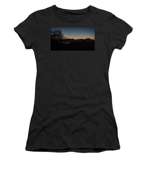 Women's T-Shirt featuring the photograph Venus And A Young Moon Over Tucson by Dan McManus