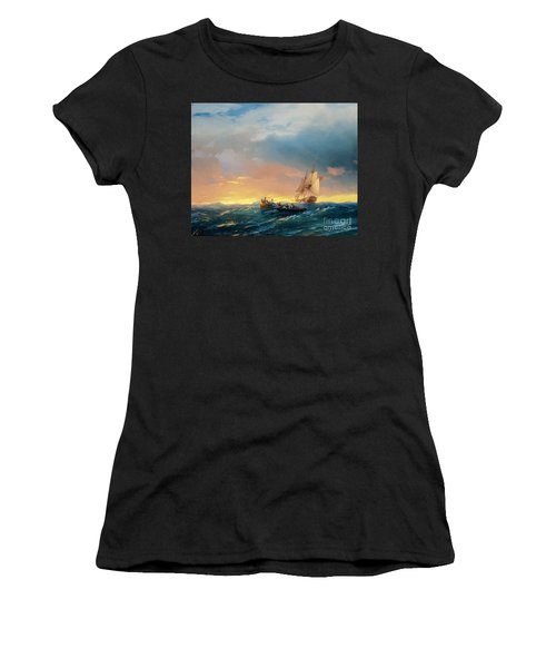 Vessels In A Swell At Sunset  Women's T-Shirt