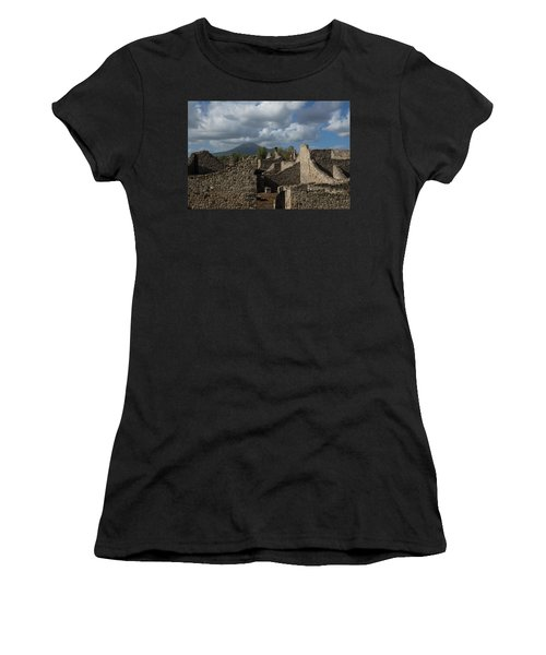 Vesuvius Towering Over The Pompeii Ruins Women's T-Shirt