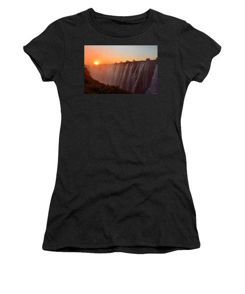 Victoria Falls At Sunset Women's T-Shirt (Junior Cut) by Jeff at JSJ Photography