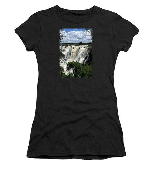 Victoria Falls On The Zambezi River Women's T-Shirt (Junior Cut) by Aidan Moran