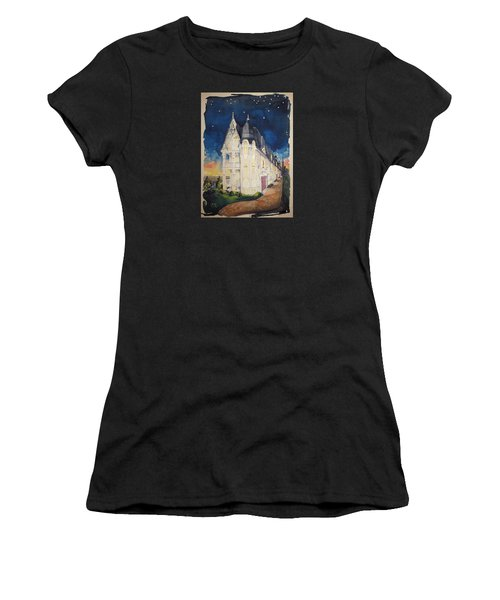 The Victorian Apartment Building By Rjfxx. Original Watercolor Painting. Women's T-Shirt (Athletic Fit)