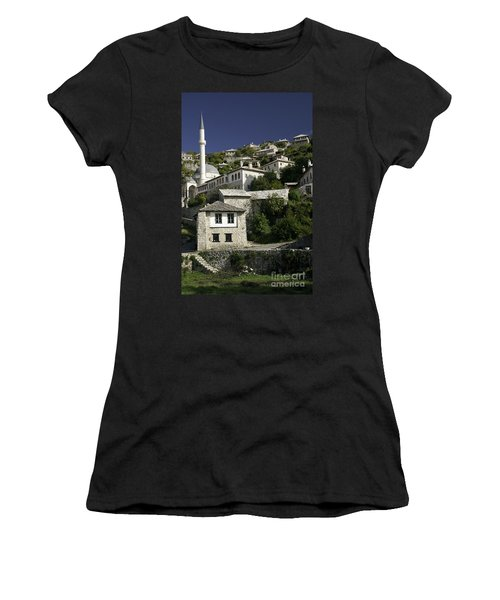 views of pocitelj in Bosnia Hercegovina with minaret bridge and river Women's T-Shirt (Athletic Fit)