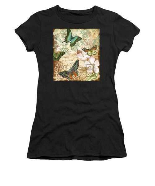Vintage Butterfly Kisses  Women's T-Shirt (Athletic Fit)