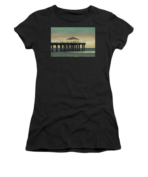 Vintage Manhattan Beach Pier Women's T-Shirt (Athletic Fit)