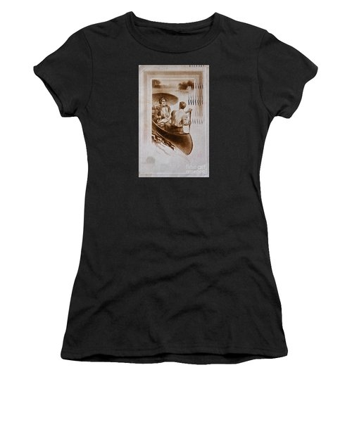 Vintage Post Card Of Couple In Boat Art Prints Women's T-Shirt (Athletic Fit)