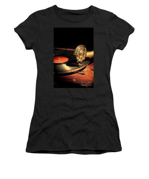 Vintage Record Player Women's T-Shirt (Junior Cut) by Jill Battaglia