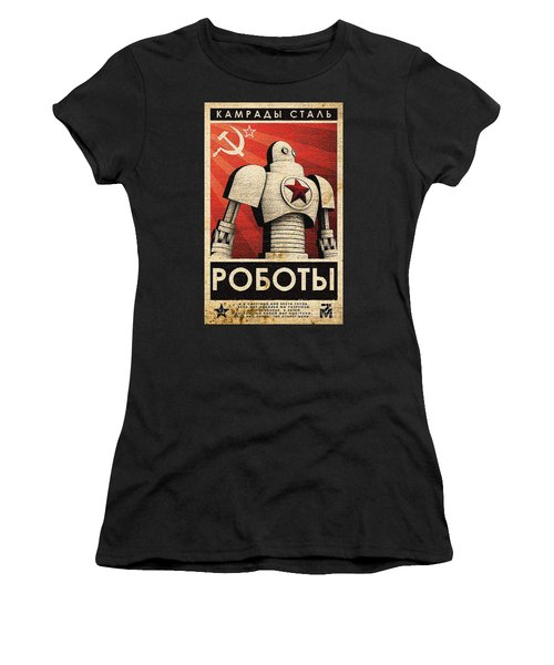 Vintage Russian Robot Poster Women's T-Shirt (Athletic Fit)