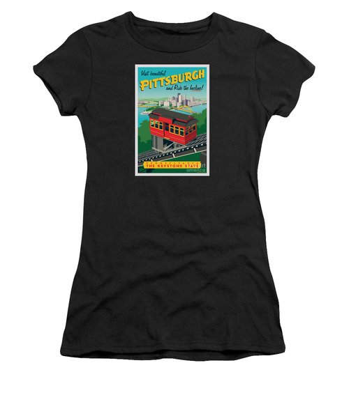 Vintage Style Pittsburgh Incline Travel Poster Women's T-Shirt (Athletic Fit)