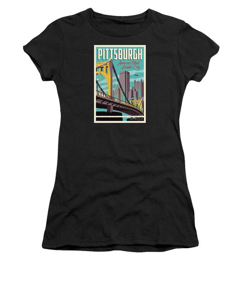 Vintage Style Pittsburgh Travel Poster Women's T-Shirt (Athletic Fit)