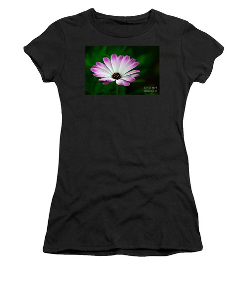 Violet And White Flower Petals With Yellow Stamens Blossoms  Women's T-Shirt (Athletic Fit)