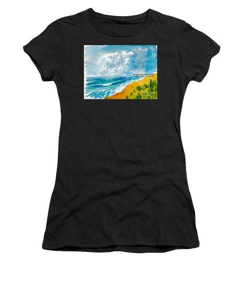 Virginia Beach With Pier Women's T-Shirt