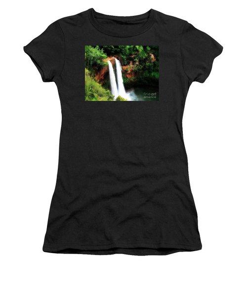 Women's T-Shirt (Junior Cut) featuring the photograph Wailua Falls by Kristine Merc
