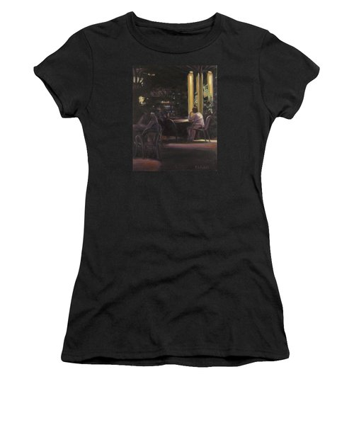 Waiting At The Night Cafe Women's T-Shirt (Junior Cut) by Connie Schaertl