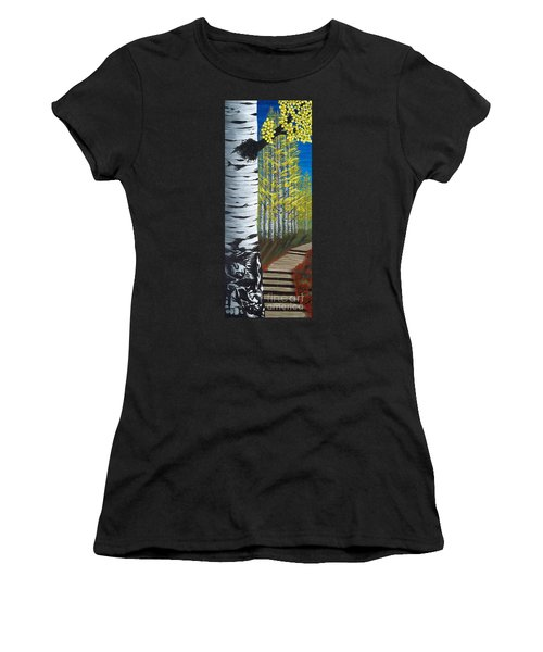 Walk Through Aspens Triptych 1 Women's T-Shirt (Athletic Fit)