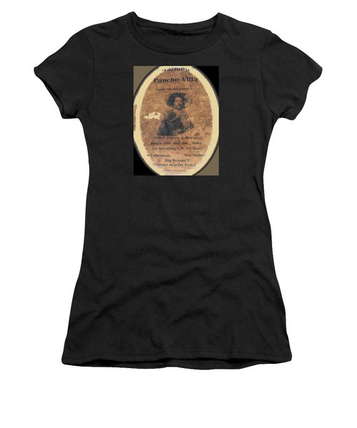 Wanted Poster For Pancho Villa After Columbus New Mexico Raid  Women's T-Shirt