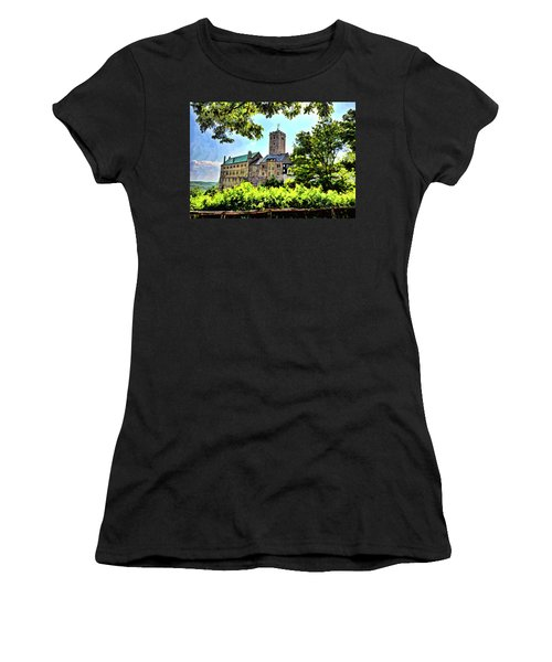 Women's T-Shirt featuring the photograph Wartburg Castle - Eisenach Germany - 1 by Mark Madere