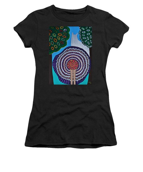 Women's T-Shirt (Junior Cut) featuring the painting Watching The Show by Barbara St Jean