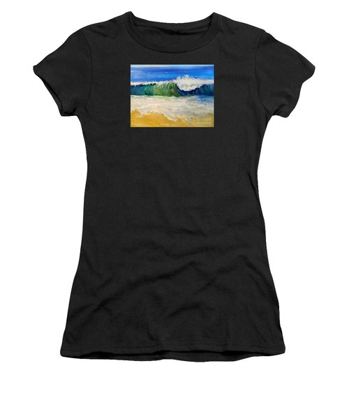 Watching The Wave As Come On The Beach Women's T-Shirt (Athletic Fit)